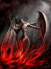 PAINTING DEVIL DEMON FIRE CHAIN TRIDENT WINGS HORNS MONSTER POSTER BMP10326