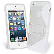 Funda iPhone 5 SOPORTE BLANCA blanco GEL Silicona Carcasa Stand Case Housse