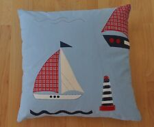 New 16inch reversible zipped cotton cushion, Laura Ashley boats, lighthouses