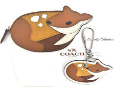 COACH Deer Doe Bambi Coin Purse & Key Chain Fob Gift Set F65763 F54923 Brown NWT