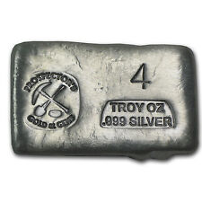4 oz Prospector's Gold & Gems Silver Bar - Poured Silver Bar - SKU #61419