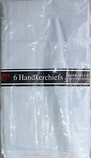 Pack of 6 white  borders mens handkerchiefs poly/cotton