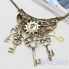 Fashion Bronze Retro Vintage Key Rhinestone Chain Pendant Necklace Sweater Chain