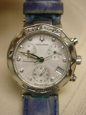 Ladies Bulova Accutron Chronograph Sapphire Crystal Blue Genuine Leather Band