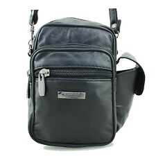 New Lorenz Real Leather Travel Waist Bum Bag Cross body Shoulder Bag Camera Bag