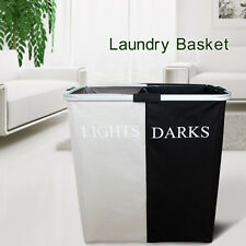 Double Laundry Hamper Washing Basket  Foldable Sorter Bag Clothes Storage Bin