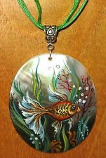 RUSSIAN Black Lip Shell pendant CUTE GOLDFISH UNIQUE hand painted GIFT signed