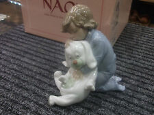 """NAO by Lladro #1408 """"Goodnight Kiss"""" Little Boy with Stuffed Dog 2001"""