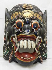 "Wooden Barong Mask Hand Carved&Hand Painted Wood Bali Wall Decor 18 1/2"" #N1498"