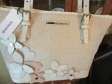 BRAHMIN CREME MIRAMONTE FLOWER MEDIUM ASHER TOTE PURSE NEW $315