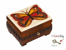 Butterfly Box Chest Polish Handmade Linden Wood Keepsake Jewelry Box, Lock & Key