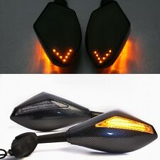 New Carbon Fiber Motocycle Integrated LED Turn Signal Mirrors for Honda Yamaha