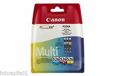 3 x Original OEM Colour Inkjet Cartridges CLI-526 For Canon MG5250, MG 5250