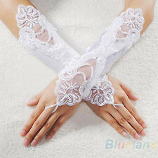 Exquisite Bride Wedding Party Dress Fingerless Pearl Satin Bridal Lace Gloves