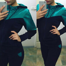 2Pcs Womens Tracksuit Hoodies Zip Sweatshirt Coat + Pants Set Sport Casual Suit