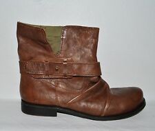 NINE WEST VINTAGE AMERICA COLLECTION FOUNTAIN SZ 8.5 M BROWN LEATHER MOTO BOOTS