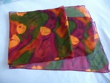 New Lady's Dark Red Chiffon Scarf with Gold/Green Floral Design