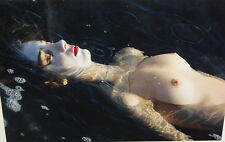 NUDE NAKED BUST GIRL WOMAN DEAD BODY WATER POST MORTEM ART PHOTOGRAPH REAL PHOTO