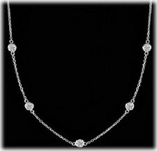 5 ct Round Diamond By The Yard 18k white Gold Necklace 22 x 0.23 ct each, 36 ""