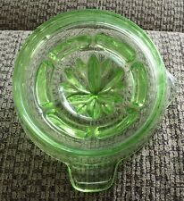 **MINT**  VINTAGE ANTIQUE GREEN VASELINE DEPRESSION GLASS JUICER REAMER