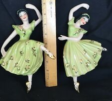 VTG 40/50's Ceramic Arts Studio Ballerina Figurines Gold Rose Slippers Attitude