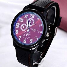 Mens Watch Big Red Face Black Silicone Band Sport Quartz Analog Wristwatch New