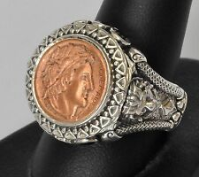Konstantino Mens Head of Athens Coin Ring 11 Sterling Copper Spinel Aeolos