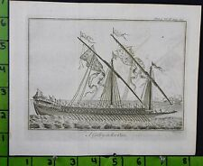 1776 Copper Plate Engraving Galley Ship Building Maritime Engineering Print