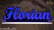 """LED LKW Truck Leuchtschild """"Florian"""" oder Ihr Wunschname 12 o. 24V blau ©faunz"""