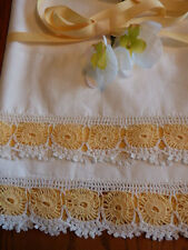 Pair of Vintage Lace Embellished Pillow Cases, Gold and White Crochet Trim
