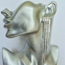 Crystal Fringe Snake Chain Dangle Drop Earrings with Tassels in silver tone