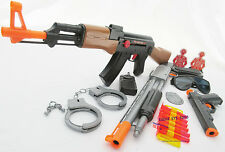 3x Toy Guns Friction AK-47 Rifle Pump-Action Toy Shotgun & Colt .45 Dart Gun Set
