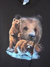 XL brown TShirt GRIZZLY BEAR claw WATER babies STRONG wild EYES see FISH stand