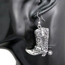 Western Wild West Silver Cowgirl Boots Spur Rodeo Earrings Fancy Dress Costume