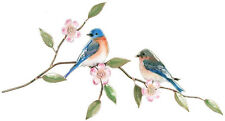 Bluebird Pair with Prairie Rose Metal Bird Wall Art Sculpture by Bovano #W4134
