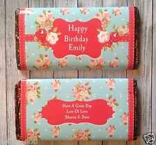 PERSONALISED Shabby Chic 1 CHOCOLATE BAR WRAPPER fits Galaxy 114g Birthday Easte