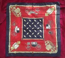 Classic Scarf Carriage Lantern Pattern Navy Dark Blue Red Golden Large Size
