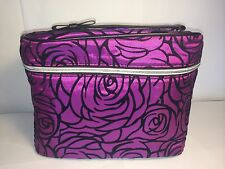 New LANCOME three dimension Purple Rose Cosmetic Case Travel Bag Train Case