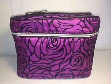 New LANCOME three dimension Purple Rose Cosmetic Case Travel Bag Train Case