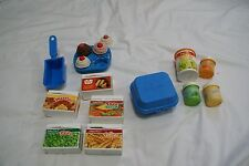 Vintage Fisher Price Plastic Play Food LOT Grocery Cans Eggs Packaged Foods