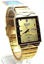 New Citizen Man 10 Genuine-Crystals, Gold-tone, Gold-dial  Dress Watch