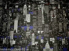 Famous US City Buildings Twin Towers Skyscrapers Quality 100% Cotton Fabric