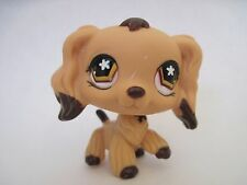 Littlest Pet Shop Cocker Spaniel #575 LPS Dog Puppy Brown Dipped Ears Flower Eye