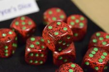 Speckled 16mm D6 RPG Chessex Dice (10 Dice) Strawberry Speckled Red and Black
