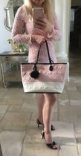 Betsey Johnson bag tote PVC pink blush black quilted Daisy floral wristlet charm