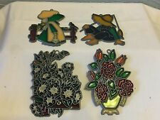 Lot of 4 Stained Glass Suncatchers  Ornaments Vintage