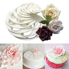 6xFondant Cake Sugar Craft Decor Cookie Rose Flower Mold Gum Paste Cutter ToolPB