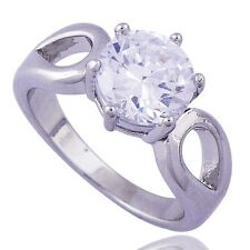 Exquisite Big Cocktail clear crystal 14K WHITE Gold Filled Womens Ring.SZ 7.25