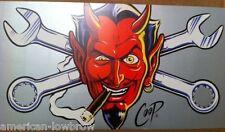 "COOP mini Art Devil Girl Poster Devil Head Face Cigar Horns Logo 2 Piece 10""x20"""