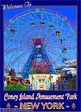 Coney Island Park Beach New York United States Travel Advertisement Poster